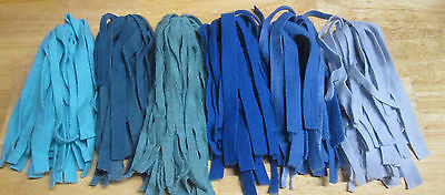"SIX LOVELY BLUES 150 count 1/4"" (#8's)  Rug Hooking Cut Wool Strips"