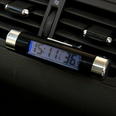 2in1 LED Digital Car Air Vent Clock Thermometer Temperature Auto LCD Backlight U