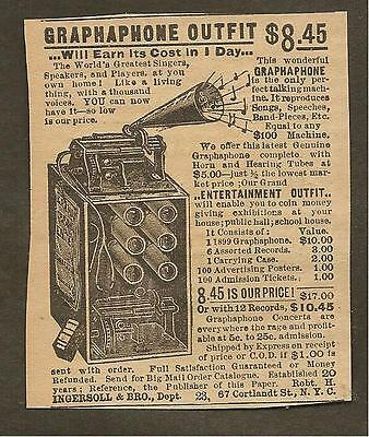 VINTAGE AD FOR INGERSOLL GRAPHAPHONE OUTFIT, LATE 1800's