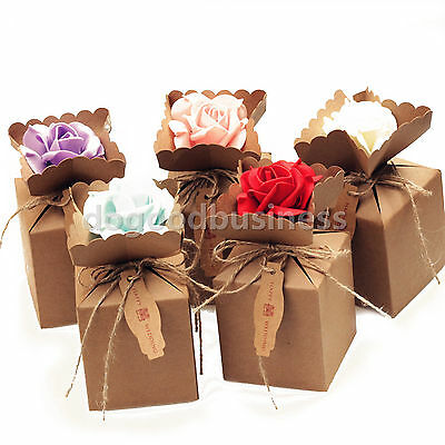 Kraft Paper Candy Gift Boxes With Burlap Ribbon Foam Flowers Wedding Party Favor