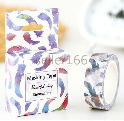 New feathers Decorative Washi Tape Sticky DIY Stationery Adhesive Sticker tag