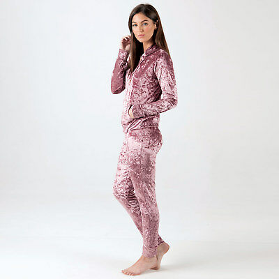 Womens Clubl Crushed Velour Tracksuit In Pink From Get The Label