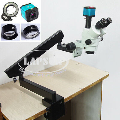90X Trinocular Articulating Arm Clamp Stereo Microscope +HD HDMI Camera Eyepiece