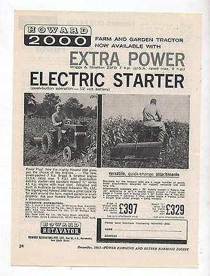 Howard 2000 Rotavator Tractor Advertisement removed from 1963 Farming Magazine