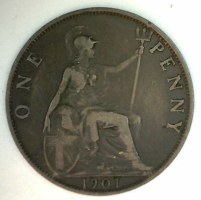1901 Bronze One Pence UK One Penny Great Britain Coin YG