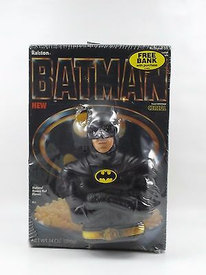 Vintage 1989 Ralston Purina BATMAN Cereal with Free Bank Promo Sealed!