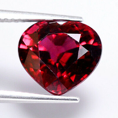 HIGH QUALITY 4.35ct NATURAL100% UNHEATED RED RHODOLITE HEART FACETTED