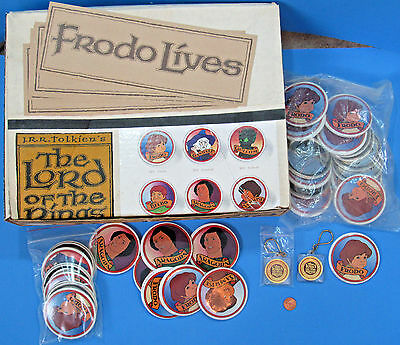 STORE DISPLAY Lord of the Rings movie '78 vtg Includes BUTTONS STICKERS KEYCHAIN