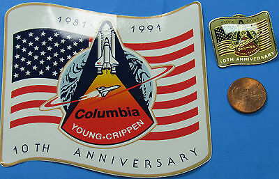 NASA STICKER/PIN PAIR vintage Space Shuttle COLUMBIA 10th Anniversary Young
