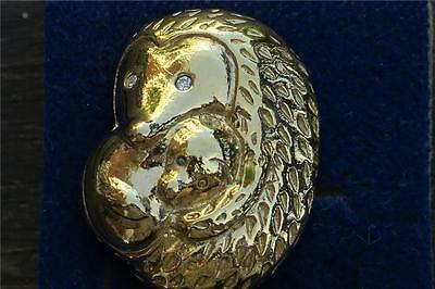 GOLDPLATED HEDGEHOG MOTHER & BABY  PIN BROOCH by AVON boxed