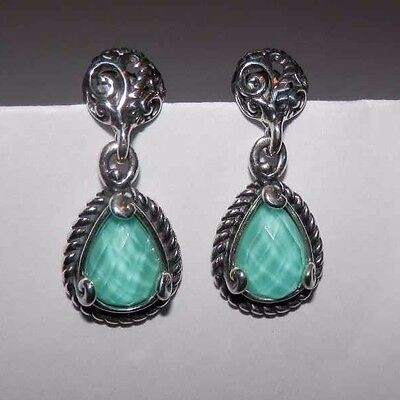 Carolyn Pollack CP Signature Turquoise Doublet Sterling Silver Earrings