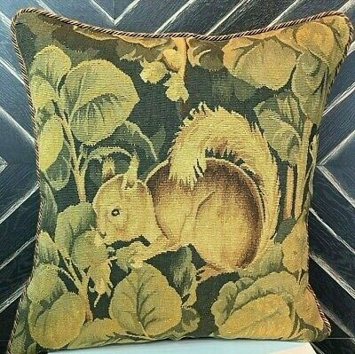 """20"""" Antique Reproduction Gobelins Tapestry Wool Aubusson Squirrel Pillow Cover"""