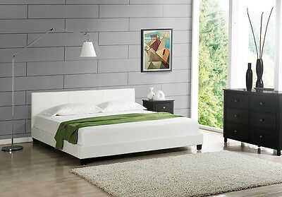 Modern Double Bed Upholstered 200x200cm White Frame imitation leather