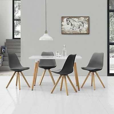[en.casa] Dining Table with 4 Chairs white/grey [120x80cm] area
