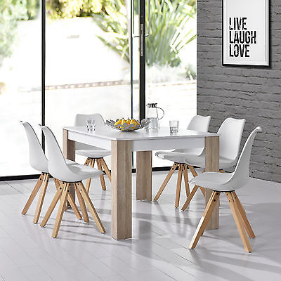 [en.casa] Dining table with 6 Chairs white 140x90cm area Faux leather Set
