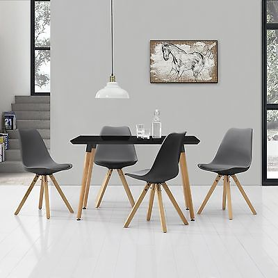 [en.casa] Dining Table with 4 Chairs black/grey [120x80cm] area