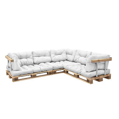 "[en.casa] ""Euro Pallets Sofa"" Edition 11x Seat Backrest pad White Pillow"