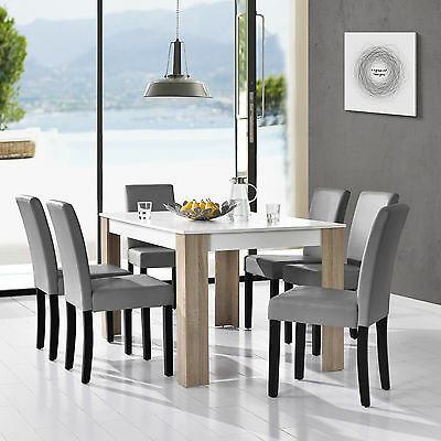 en.casa Dining table white with 6 Chairs bright grey 140x90cm area Faux leather
