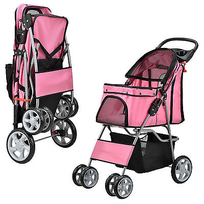 [pro.tec] Dog dare Haustier Stroller Hundebuggy Roadster incl. Shopping bag Pink