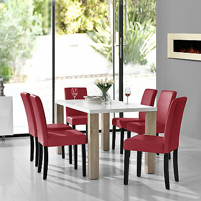 [en.casa] Dining table white with 6 Chairs dark-red 160x85cm area Faux leather