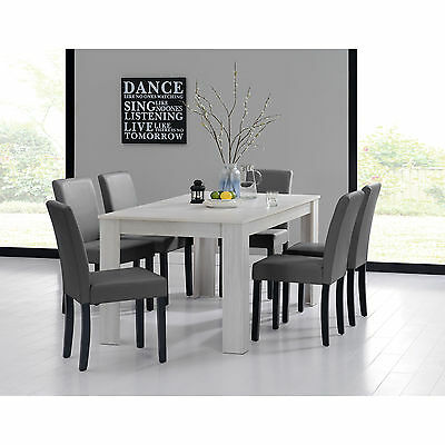[en.casa] DINING TABLE 160x90 OAK WHITE + 6 CHAIRS Dark grey DINING ROOM TABLE