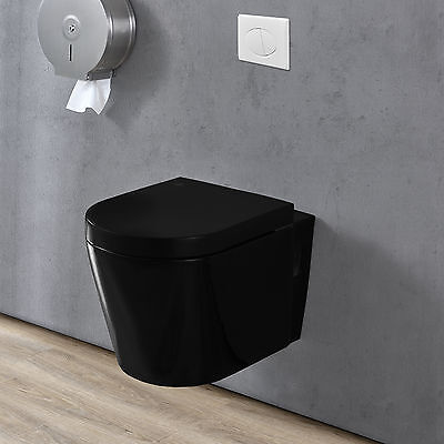 house] Ceramic Wall hanging Toilet Soft closing mechanism black Washdown model