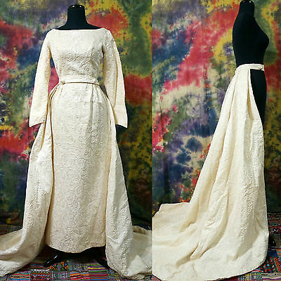 VTG 50's Embossed Wedding Dress Ivory Sheath Bridal 2 Pieces Detached Train XS
