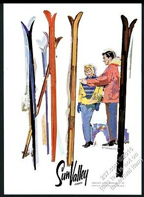 1958 Sun Valley ski area couple and skis color art vintage print ad