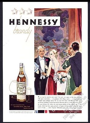 1933 Hennessy Cognac back after Prohibition party art vintage print ad