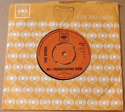 "The Byrds : Mr.Tambourine Man + I Knew I'd Want You UK CBS 7"" 45 1965 - 201765"