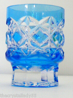Faberge Na Zdorvye azure light blue cut to clear crystal SHOT glass SIGNED