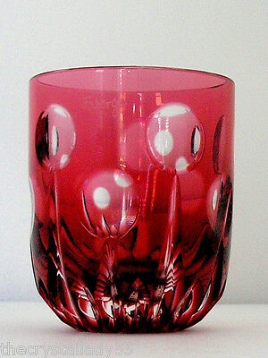 Faberge Na Zdorvye cranberry cut to clear crystal VODKA SHOT glass SIGNED