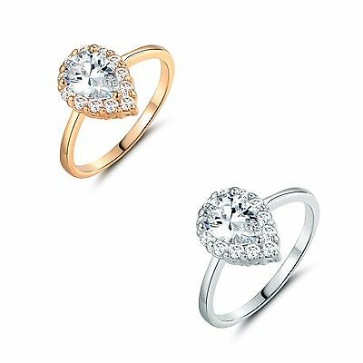 Oval White Topaz Prong Setting wedding Cluster ring Sz5-Sz9 in 18k gold filled