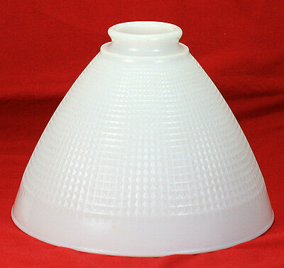 Art Deco Waffle Weave Textured Milk Glass Floor Lamp Torchiere Shade
