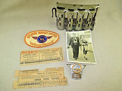 1942 Atlanta Transit System Worker Personnel Grouping Badge Photo Tickets Patch