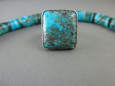 Big EXOTIC Speckled Blue Rare Square Cut Morenci Navajo Style Turquoise Ring