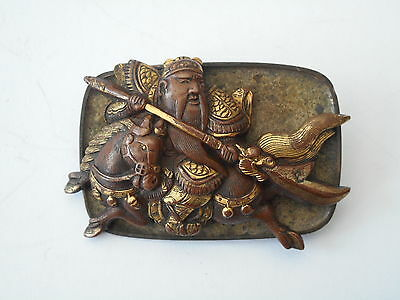 Superb Antique Japanese Mixed Metal Warrior Horse Menuki Tobacco Pouch Clasp