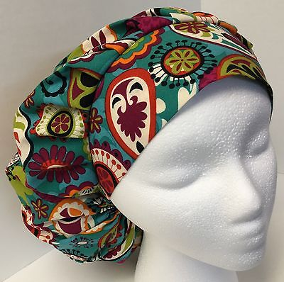 Teal Paisley size: Large Adjustable Medical Bouffant OR Scrub Cap Surgery Hat
