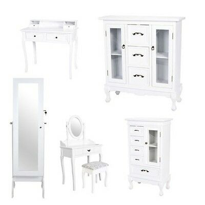 Jewelry Cabinet Vanity Cupboard Dresser Mirror Make-up Table White Shabby