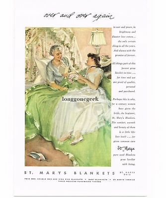 1954 St. Marys Wool Blankets Grandmother and Bride art Vtg Print Ad