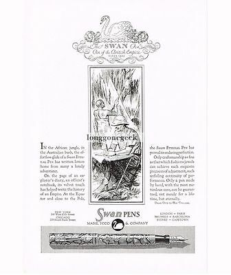 1929 Swan Pen Mabie Todd and Co. art Pen of the British Empire art Vtg Print Ad