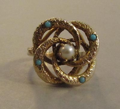 Antique 14k Pearl & Turquoise Knot Ring Size 9.25