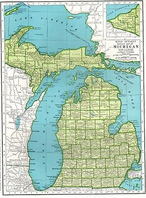 1942 Antique MICHIGAN Map Gallery Wall Art Vintage Map of Michigan #3353