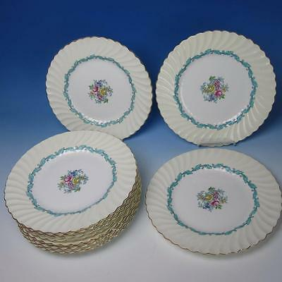 Minton China - Ardmore Ivory & Turquoise - 12 Dinner Plates - 9 5/8 inches