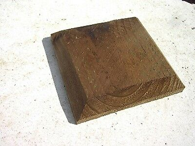 "Pack of 6 x 5ins Square BrownTreated Wood Decking Fence Post Caps for 4"" posts"