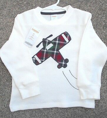 Boys Gymboree Off White Long Sleeve Shirt with Airplane 2T  NWT