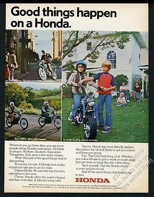 1974 Honda minibike motorcycle 3 color photo vintage print ad