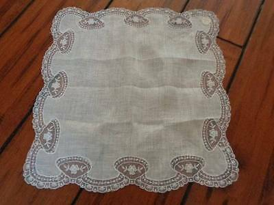 Vintage White Linen Lace Floral Wedding Hanky Handkerchief Austria  Unused
