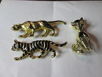 Lot of 5 Vintage Brooch Pin  Cat / Panther / Tiger / Lion / Cheetah