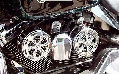 SD-320 + VBM Love Jugs Slots Chrome Engine Cooling Fans for Harley Motorcycles